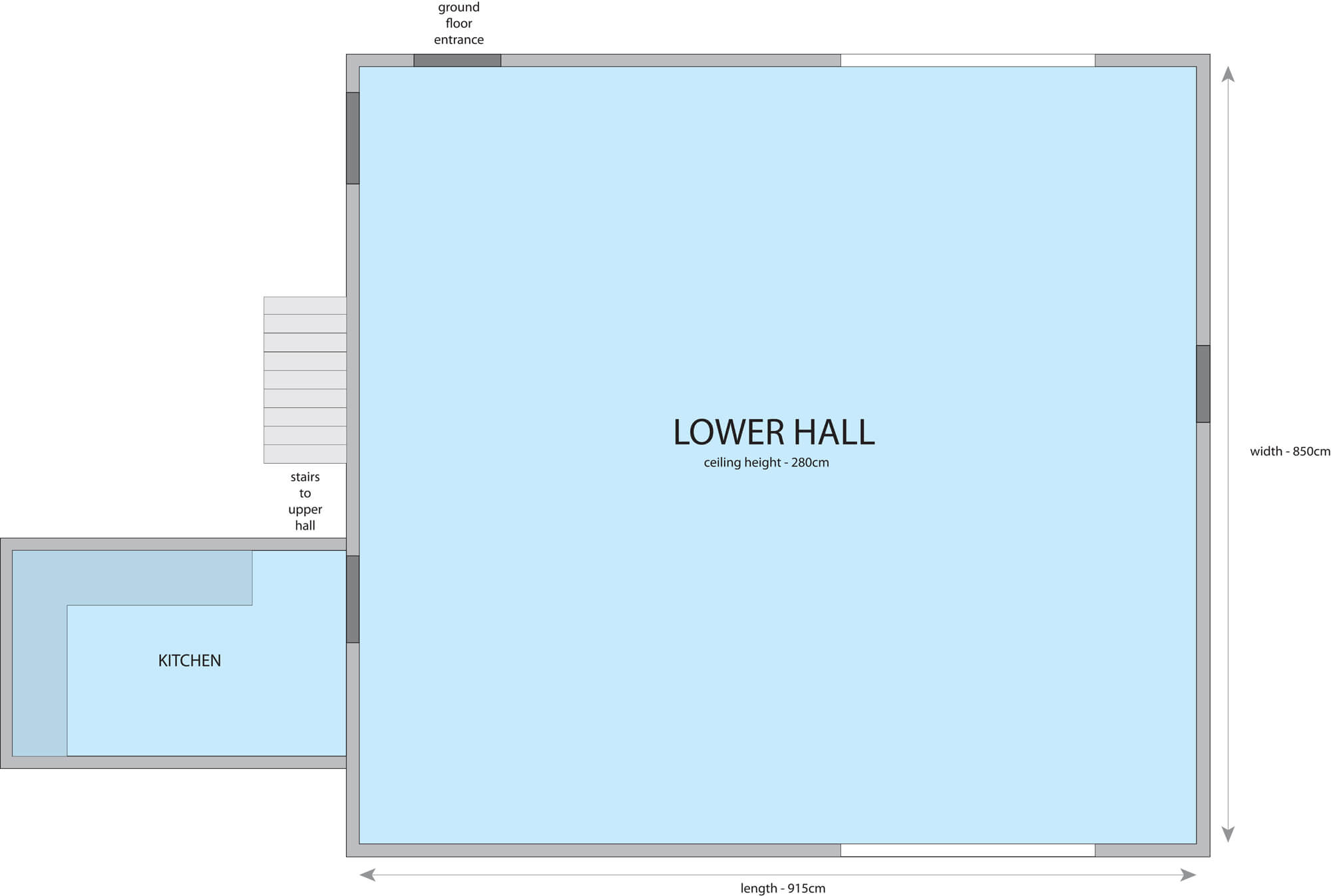 Lower Hall Hire Floorplan