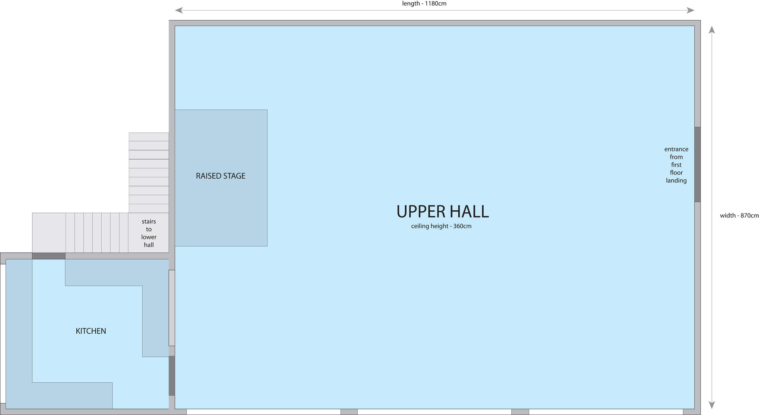 Upper Hall Hire Floorplan